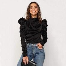 2019 Fashion Women Satin Blouses Bow Neck Long Sleeve Elegant Blouse