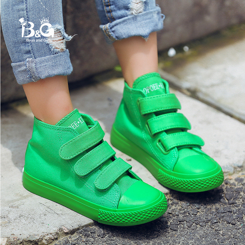 B&G Children's Canvas Skateboarding Shoes Anti-slip High Top Velcro Boys Sneakers Breathable Girls Sports Shoes White
