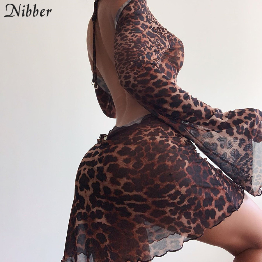 Nibber Party Night Sexy Leopard Backless See ThroughClubwear  Women Stylish Flared Sleeves Lace Up Bodycon Mini Street Dresses