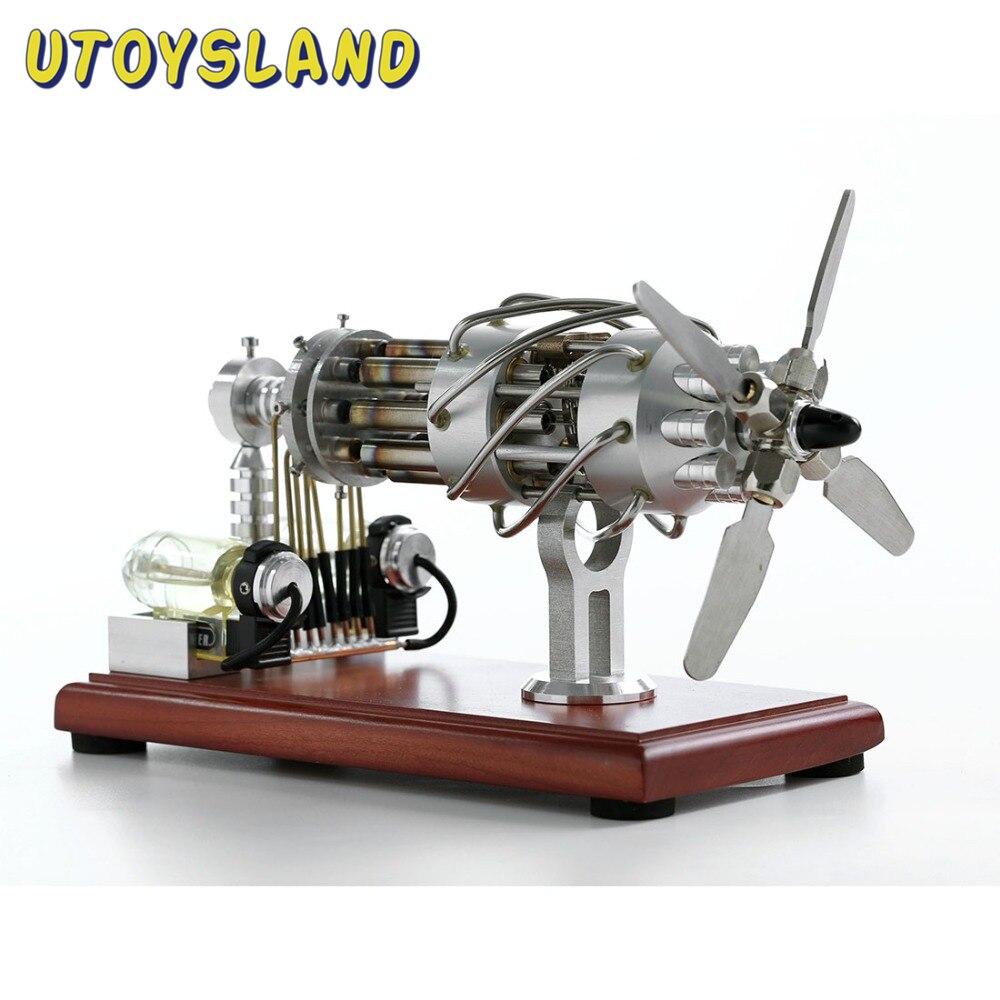 Moteur à Air chaud Stirling, modèle 16 cylindres, plaque oscillante, jouets éducatifs physiques pour enfants, cadeaux scientifiques, jouets 2018-argent