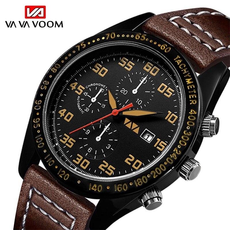 VA VA VOOM Fashion Quartz Watches Men Waterproof Wristwatch Leather Strap Watch Date Business Casual montre homme zegarek meski