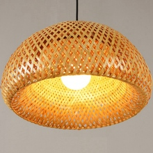 Bamboo Wicker Rattan Lampshade Hand-Woven Double Layer Dome Asian Rustic Japanese Lamp Design