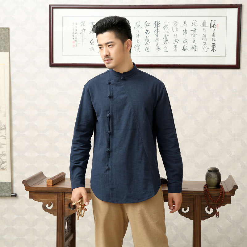 New Style Xie Jin Cotton Linen Frog Tops Chinese-style Men'S Wear Thick-Chinese Style Robes Autumn And Winter Flax Meditation Cl