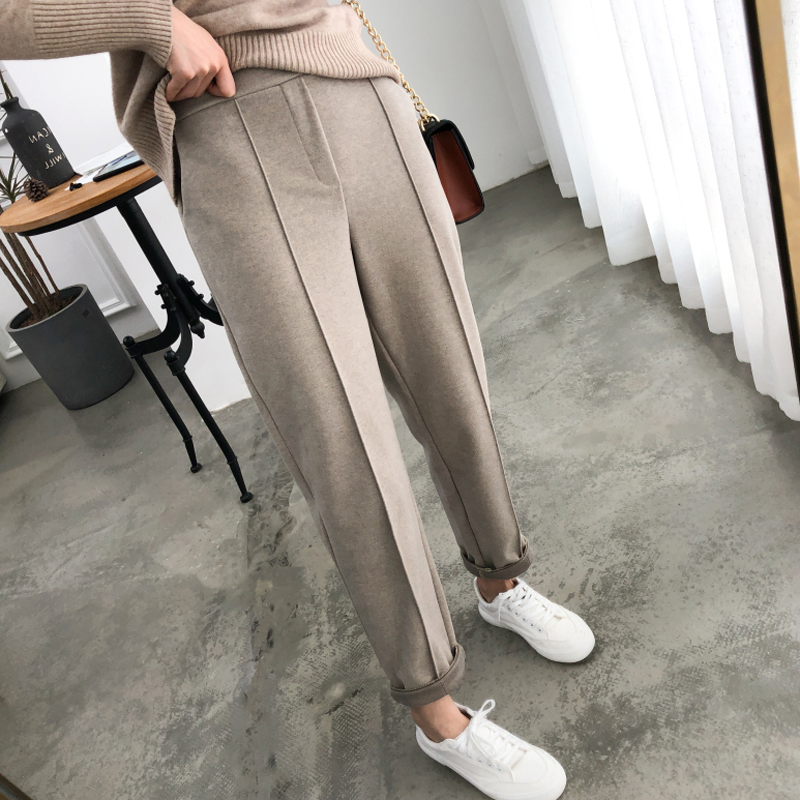 OL Style Thicken Women Pencil   Pants   Plus Size Wool Female Work Suit   Pants   2019 Autumn High Waist Loose Female Trousers   Capris