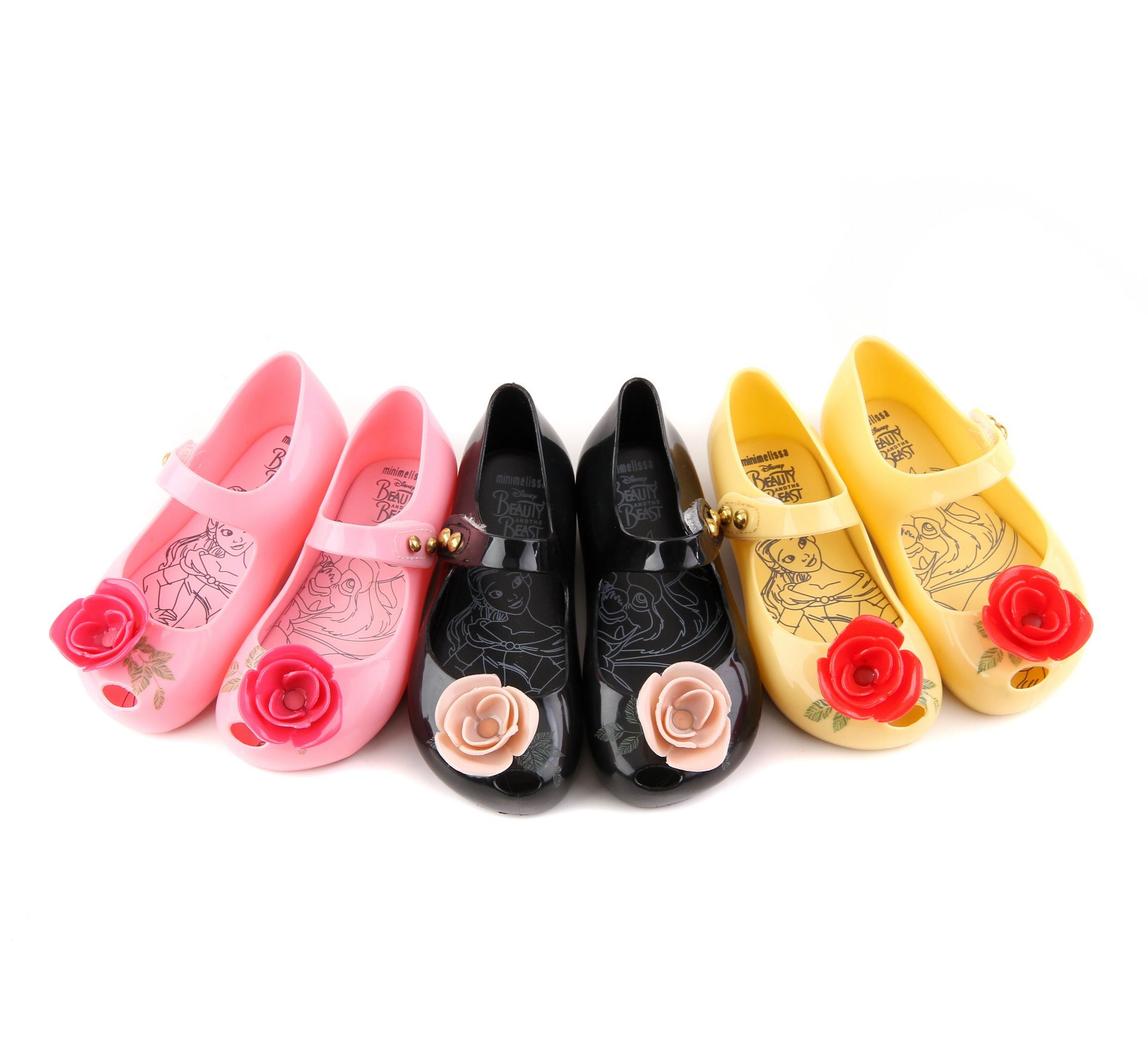 Children's Summer Shoes Mini Melissa Beauty And The Beast Rose Jelly Shoes Kids Girls Sparkle Bowknot Fashion Sandals SH100