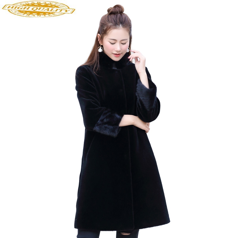 Natural Mink Fur Collar Real Wool Fur Coat Female 2020 New Sheep Shearing Coats Thick Warm Winter Jacket Women WYQ2110