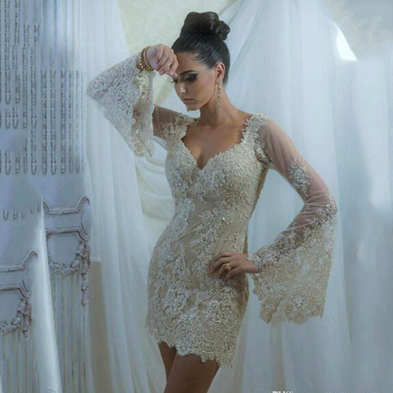 Champagne Sexy Short Prom Dresses Beaded Lace Long Poet Sleeve Evening Gowns Mini Dress For Prom Gown De Fiesta