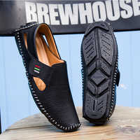 Genuine Leather Shoes Men 2019 New Fashion Brand Moccasins Men Breathable Men Loafers Hook&loop Driving Boats Casual Shoes Men