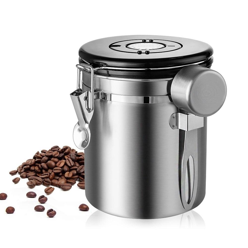 Aço inoxidável hermético recipiente de café armazenamento vasilha conjunto frasco de café vasilha com colher para grãos de café chá 1.5l