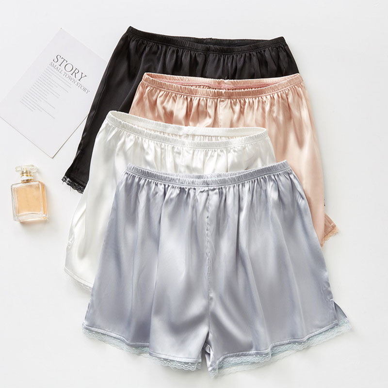Women Summer Shorts Ice Silk Lace Anti-light Insurance Bottoming Shorts Girls Solid Color Casual Shorts Female