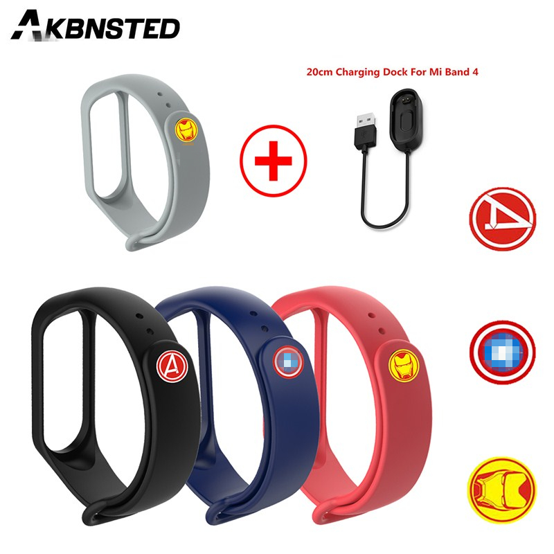 AKBNSTED Silicone The <font><b>Avengers</b></font> Watch <font><b>Strap</b></font>+20CM USB Charging Cable For Xiaomi <font><b>Mi</b></font> <font><b>Band</b></font> <font><b>4</b></font>/3 Smart Sport Watch Replace Accessories image