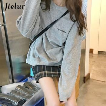 Jielur 2021 New Kpop Letter Hoody Fashion Korean Thin Chic Women's Sweatshirts Cool Navy Blue Gray Hoodies for Women M-XXL 4
