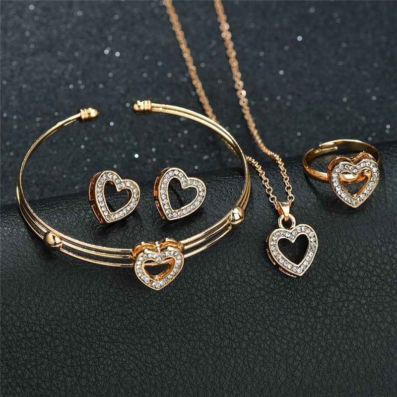 5pcs/lot Jewelry Set Heart <font><b>Necklace</b></font> <font><b>Earring</b></font> <font><b>Ring</b></font> <font><b>Bracelet</b></font> Set Luxury Women Jewelry Stainless Steel Jewelry for Women Girls image