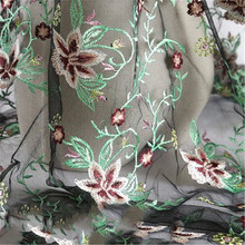 New plant pattern embroidery mesh fashion wedding home textile curtain fabric hug pillowcase clothing accessories