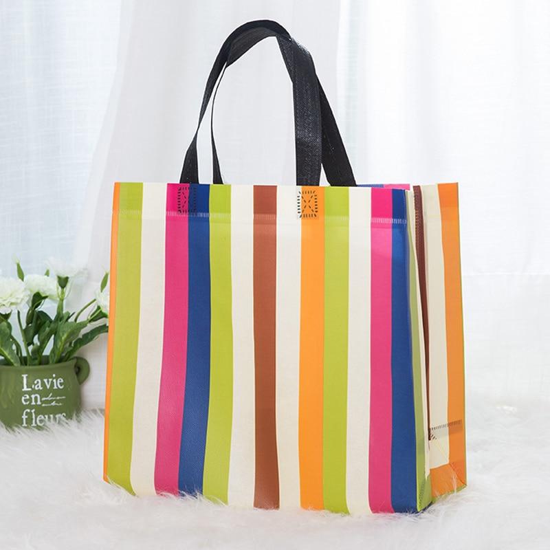 New Strip Foldable Shopping Bag Reusable Tote Pouch Women Travel Storage Handbag Fashion Shoulder Bag Female Canvas Shopping Bag