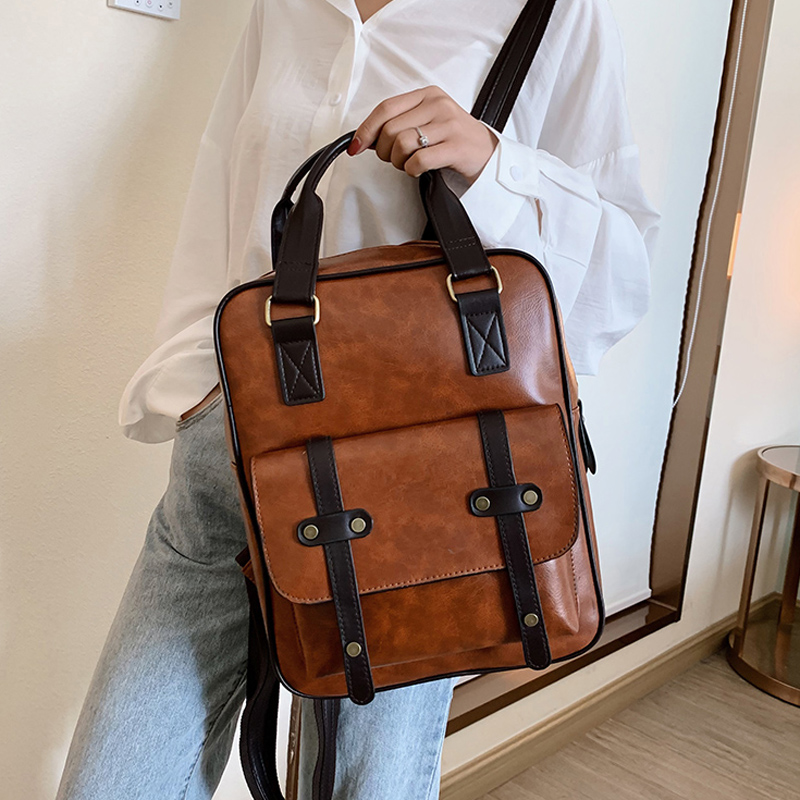 2020 Mochila Feminina Anti Theft School Bags Waterproof Travel Vintage Laptop Brown Leather Big Backpack Women Korean Designer