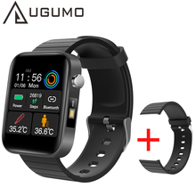 UGUMO 2021 NEW T68 Smart Watch Body Temperature Measure Heart Rate Blood Pressure Oxygen Smart Bracelet with Colorful Straps