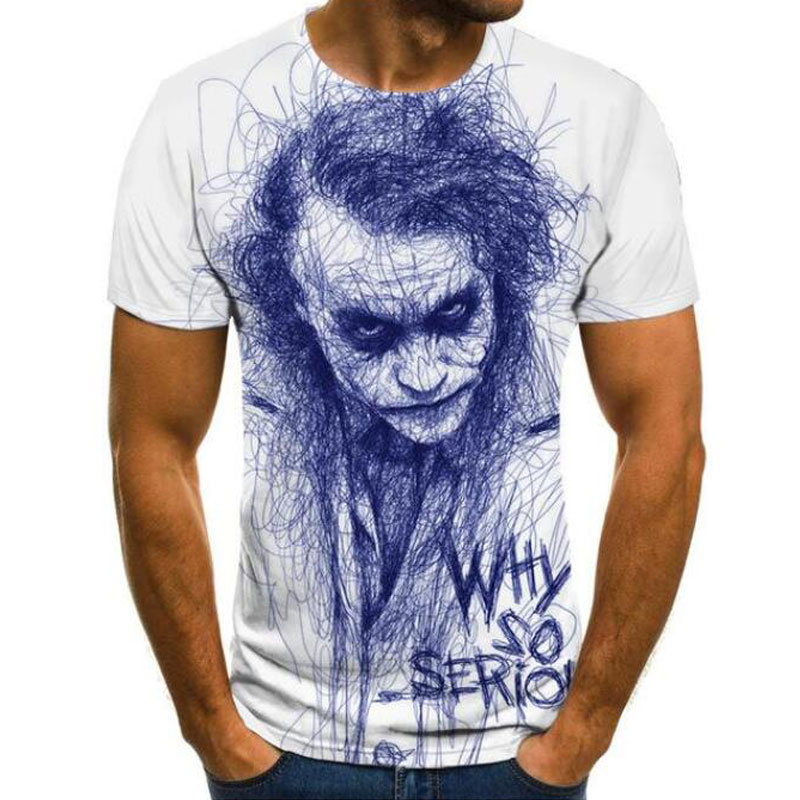 2020 New Men T Shirt Sketch The Clown 3D Printed T Shirt Men Joker Face Casual O-neck Male Tshirt Clown Short Sleeved Joke Tops