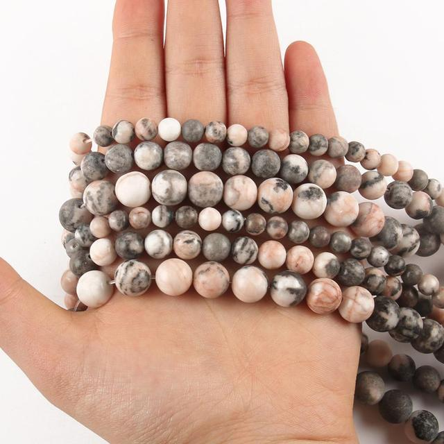 4 6 8 10 12mm Natural Stone Pink Zebra Dull Polish Matte Jaspers Smooth Round Beads for Jewlery Making DIY Bracelet Spacer Beads