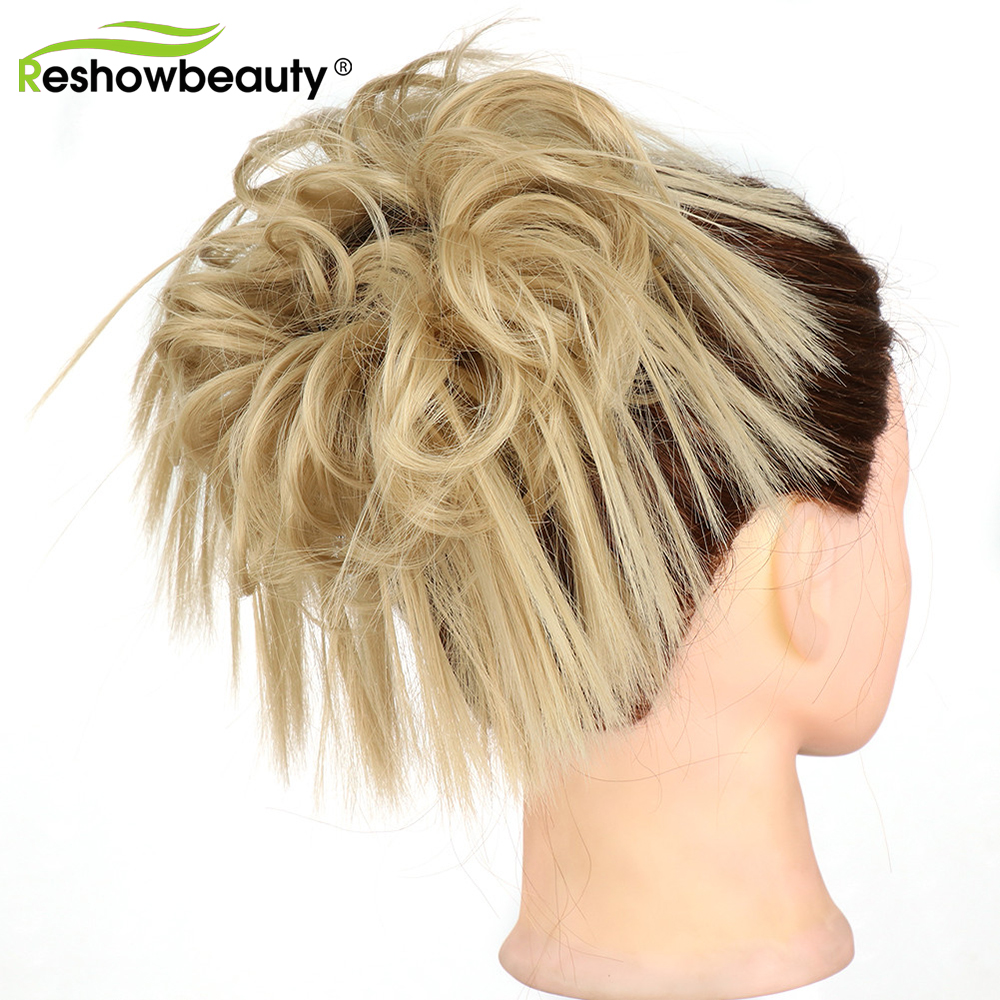 Hair Bun Messy Chignon Bun For Clip-In Hair Extensions Elastic Rope Synthetic Scrunchies Hair Extension For Women Reshowbeauty