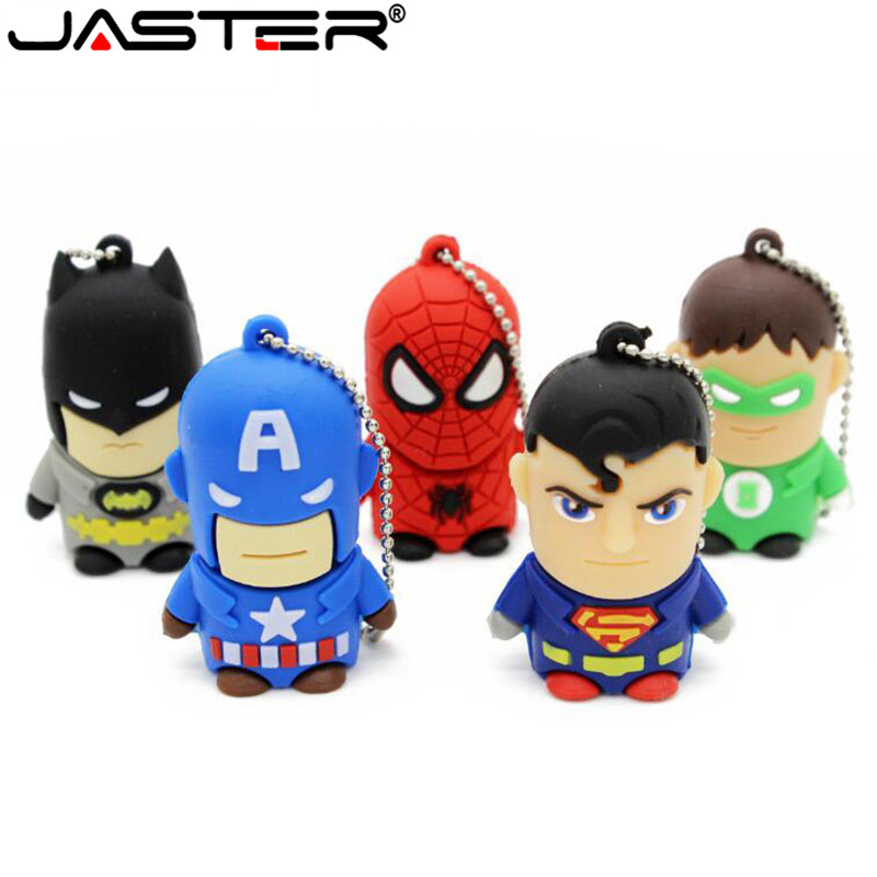 JASTER Cartoon 64GB Cute Superman Hulk Flash Batman USB Flash Drive 4GB 8GB 16GB 32GB Pendrive USB 2.0 Usb Stick