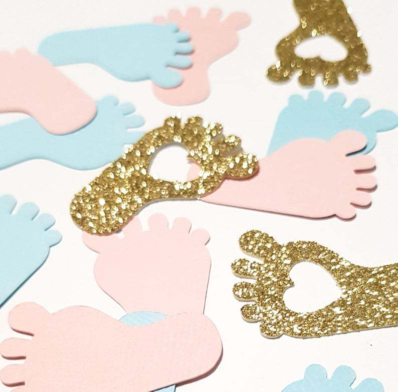 100pcs Pink Blue & Gold Baby Footprint Confetti Baby Shower Gender Reveal Party Table Decorations Candy Favor Box DIY Supplies