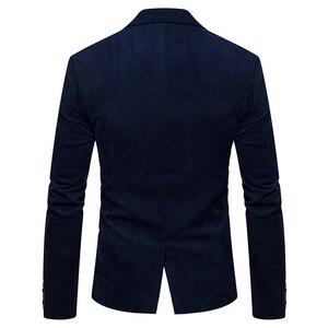 Image 5 - חדש סתיו גברים מזדמן חליפת מעיל גברים מוצק צבע קורדרוי צמר בד חליפת טרייל כיס כפתור לקשט גברים של חליפה מעיל