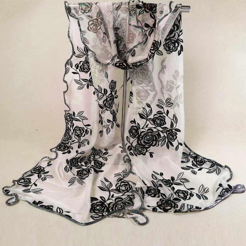Floral Print Retro Head Neck Silk Satin Scarf Shawls Women Lady Flower Printing Lace Scarf Soft Wrap Shawl Stole Pashmina#o19s