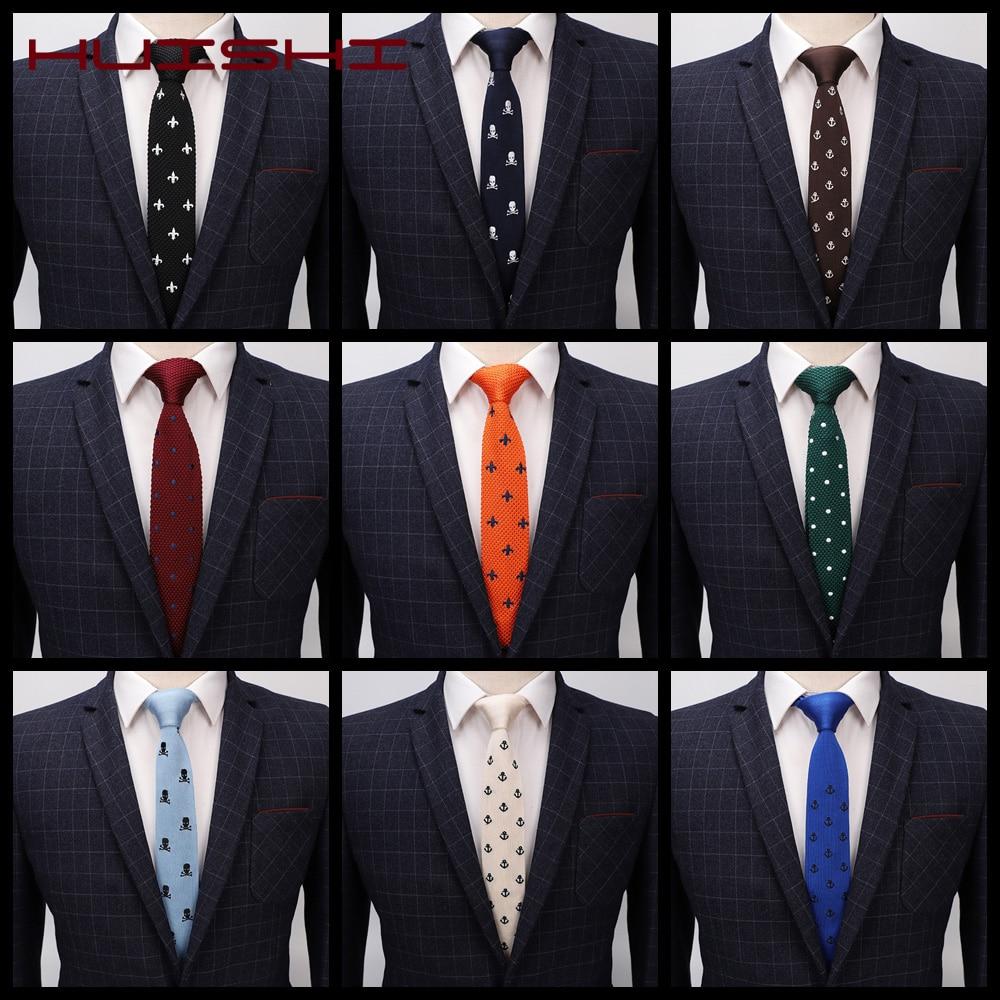 HUISHI Knit Tie Men's Knitted Leisure Dotted Tie Skinny Narrow Slim Neckties For Men Animal Anchor Designer Necktie Cravat Gift