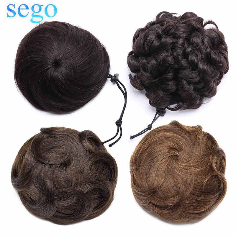 SEGO, 30g, 100%, cabello humano Real, moño de rosquilla para mujer, piezas de cabello de moño no Remy, 2 Clips en 7 colores disponibles