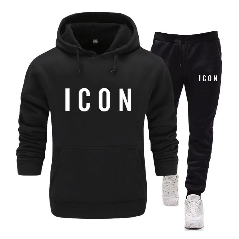 Hot 2020 Fashion Men's Set Icon Print Set Men's Tracksuit Hooded Sweatshirt+Pants 2PC Sets Loose Pullover Coat & Long Pants Mens