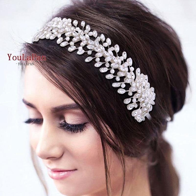 TOPQUEEN HP351 Sparkly Hair Accessories Pearl Vine Headpiece Bridal Hair Jewelry for Women Tiara Rhinestone Baroque Headband
