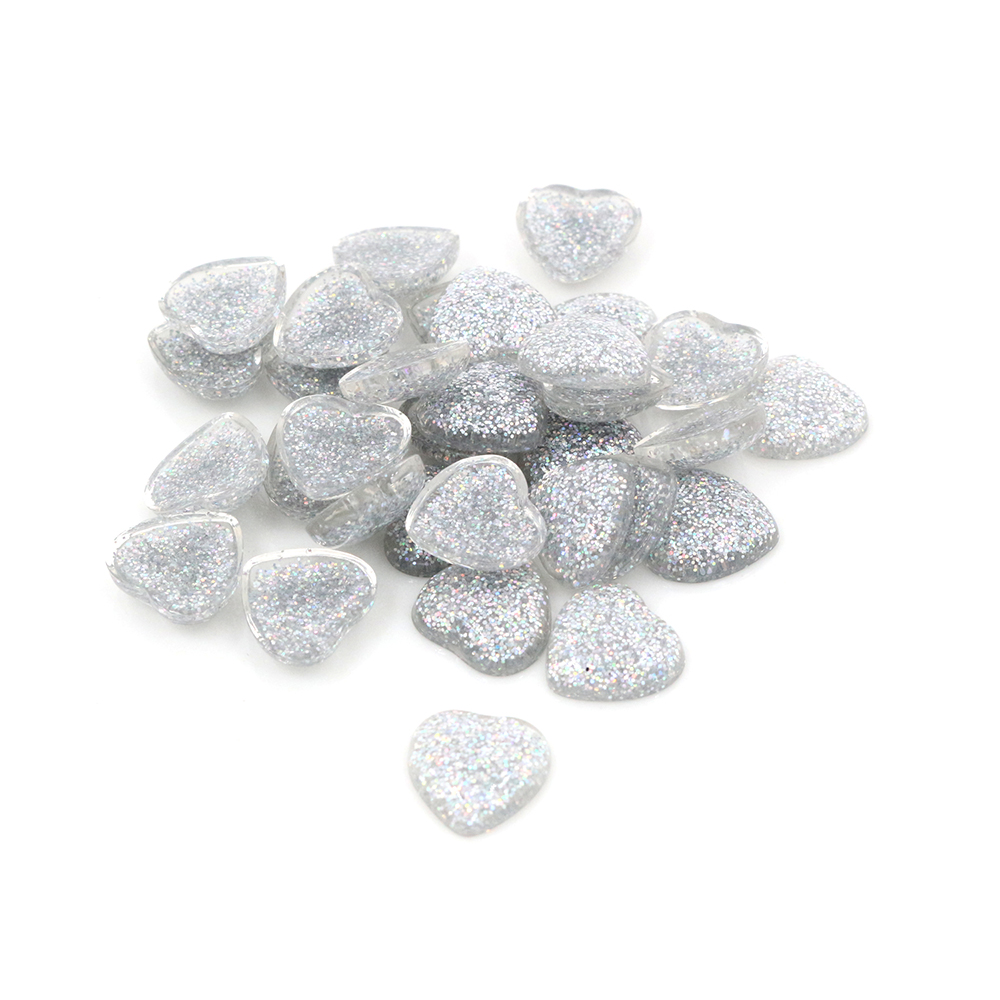 New Fashion 40pcs 12mm Heart Style Silver AB Colors Flat Back Resin Cabochons Cameo For Bracelet Earrings Accessories-V2-08