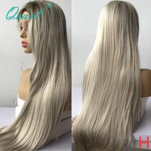 Longo cabelo humano peruca cheia do laço ombre luz loira peruca para as mulheres em linha reta preplucked parte livre remy cabelo 150% 180% qearl
