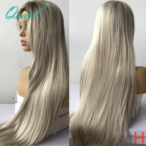 Peluca larga de pelo humano, peluca de Rubio claro Ombre para mujer, peluca recta de pelo Remy 150% 180% qpearl