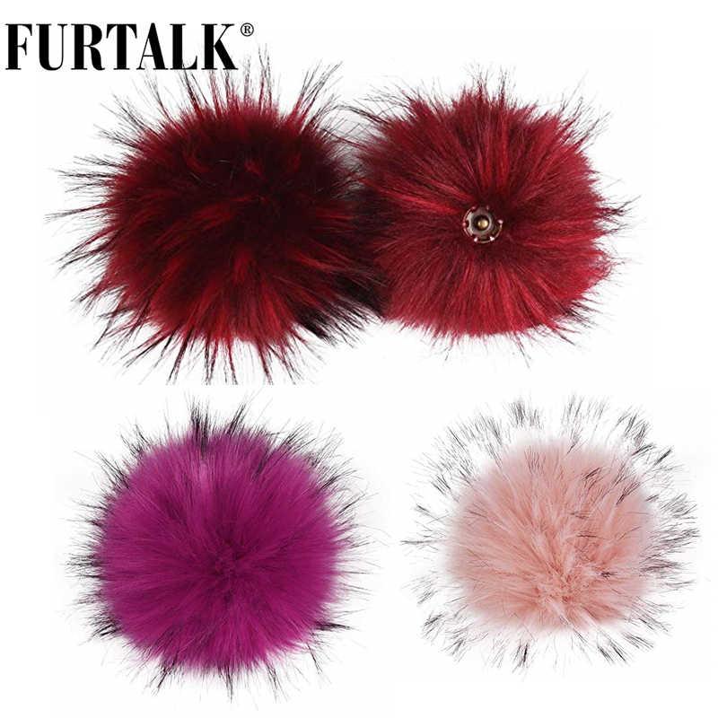 Furtalk Gebreide Pompom Voor Hoed Afneembare Pom Pom Faux Fur Pompom Voor Winter Vrouwen