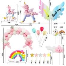 Unicórnio bolo de aniversário decoração bolo chapéu superior, 1 arco de bola de pele rosa 1 arco-íris 1 feliz aniversário banner 2 nuvens 4 balões