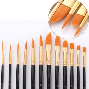Image 3 - 16Pcs Paint Brushes Set Combination Watercolor Oil Paint Palette Knife Nylon Hair Wood Handle Painting Brush Sponge