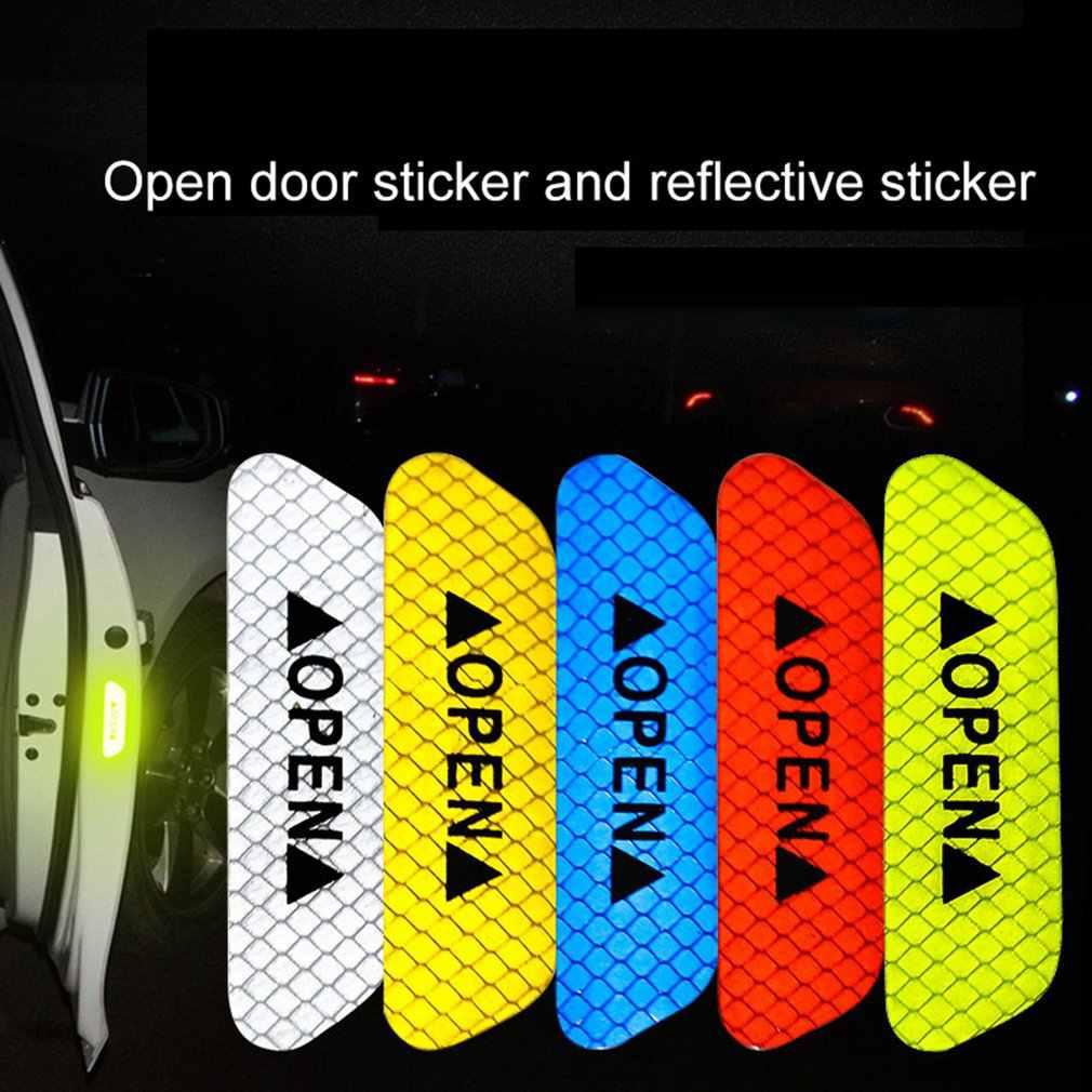 1 Uds. Abren las calcomanías reflectantes de la puerta, pegatinas de advertencia de seguridad, película reflectante, pegatinas resistentes a rayadura de puerta de coche