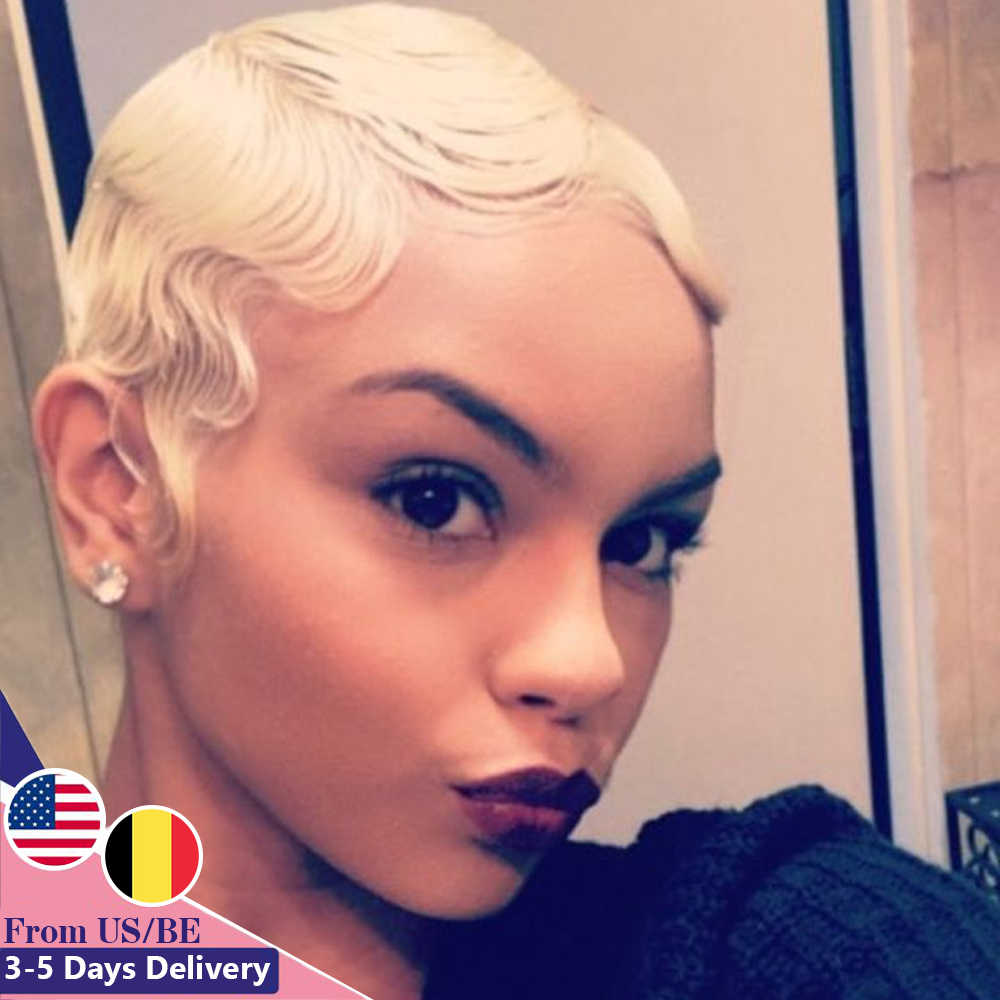 Sapphire Finger Wave Short Bob Human Hair Wigs Machine Made Pixie Cut Wigs For Black Women Natural 27 613 99j Color Human Hair Lace Wigs Aliexpress