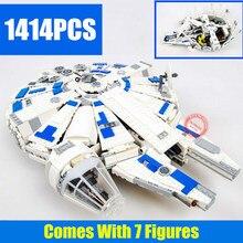New 1414PCS StarWars Force Awakens Star Wars figures Falcon 75212 Building Blocks bricks Kids toys boy Gift birthday
