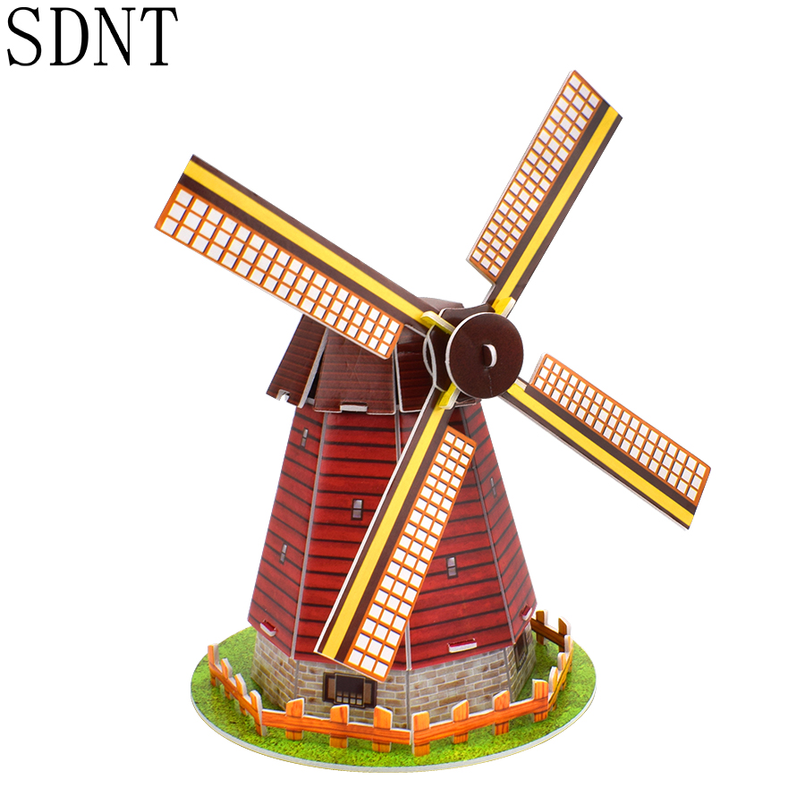 Dutch Windmill Puzzle Model Toys 3D World Attractions Educational Handmade Cardboard Puzzles Models Toy Gift For Kids Decoration