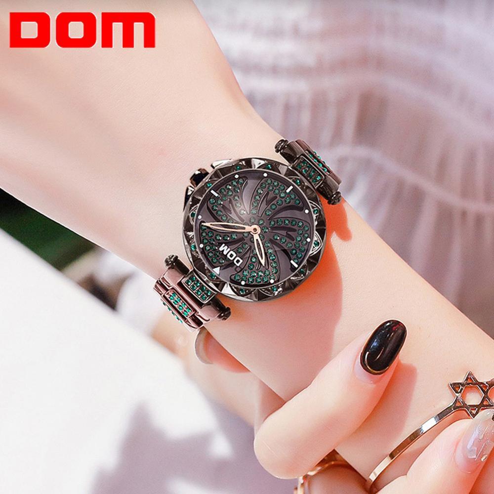 DOM Luxury Fashion Women Watches Lady Watch Stainless Steel Dress Women Bling Rhinestone Watch Quartz Wrist Watches G-1258BK-1MF