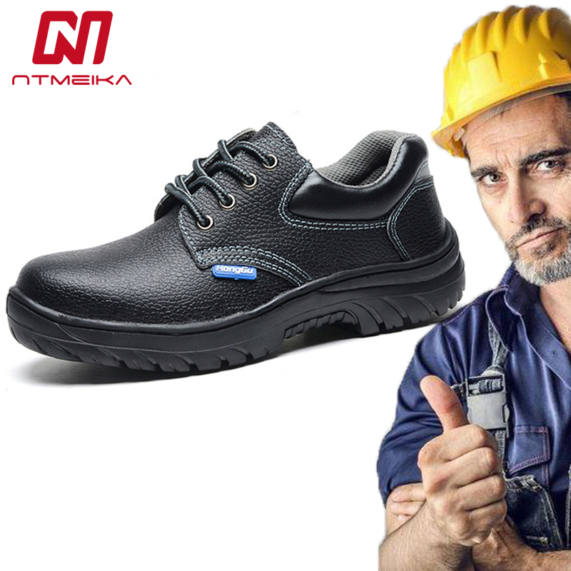 Genuine Leather Work Safety Shoes Men Steel Toe Waterproof Work Shoes For Men High Quality Men Safety Boots image