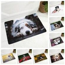 Australian Shepherd Dog Pet Dog Animal Door Mat Non-Slip Doormat Soft Flannel Carpet Floor Mat for Bedroom Hallway Decor 40x60cm