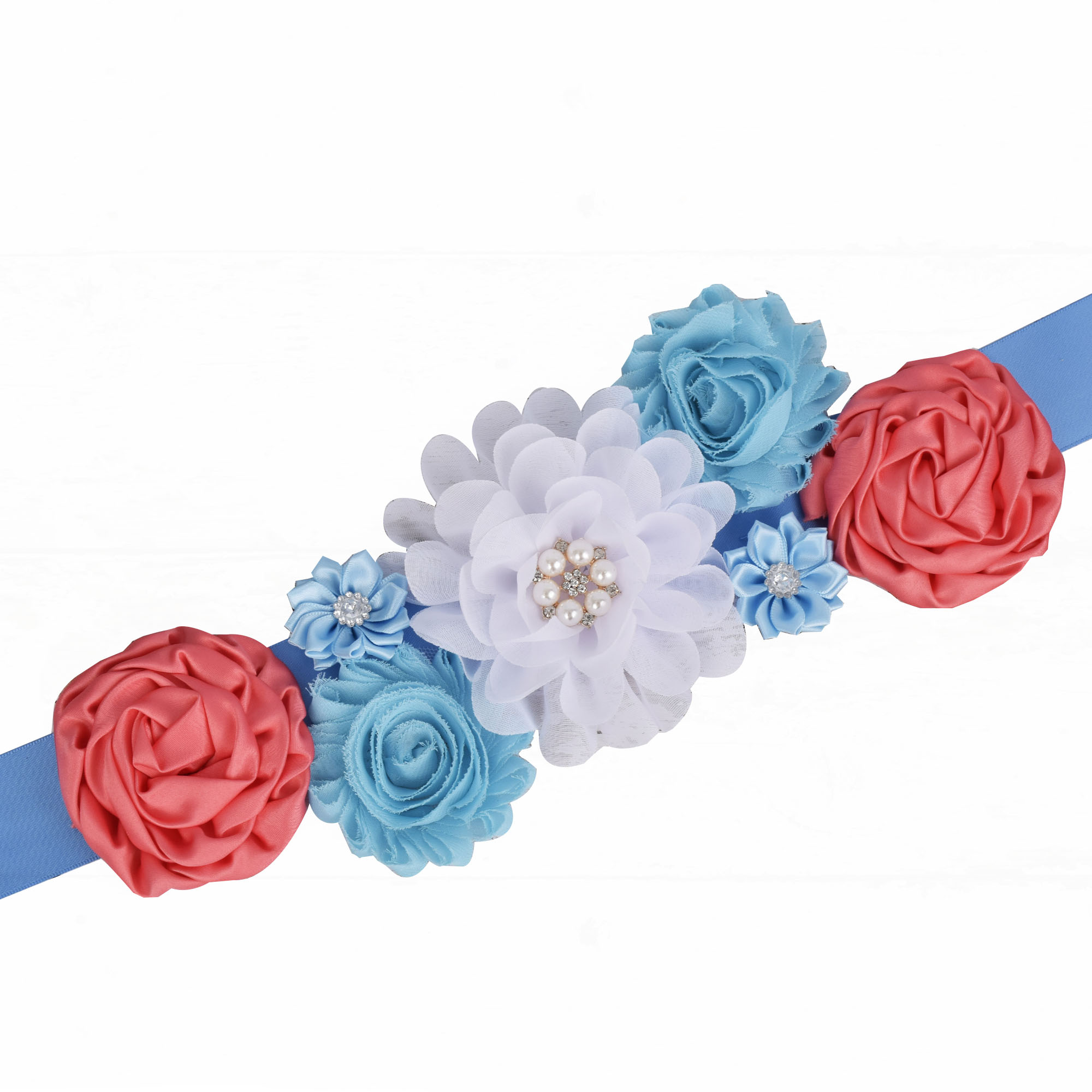 Theeper New Maternity Sash Pregnancy Belly Belt Baby Shower Party Flower Sash  Photo Prop Woman Floral Sash Wedding Party Belt