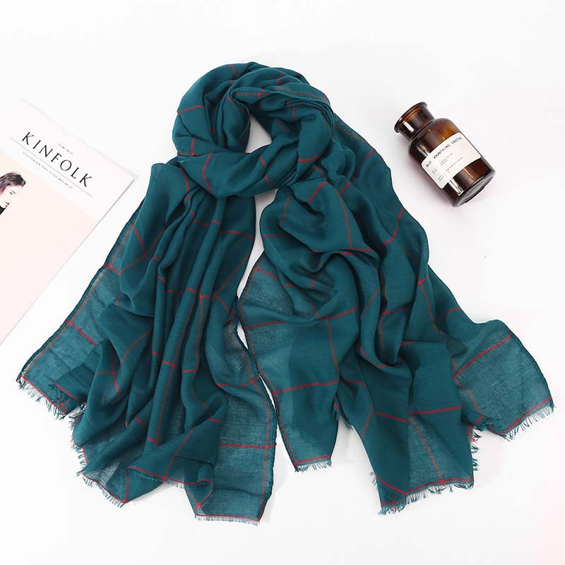 2019 New Winter Warm Black Red Green Pink Tartan Plaid Blanket Head Hijab Scarf For Ladies Long Muslim Islamic Shawls And Wraps