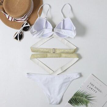 2020 New Sexy Flash Bikini Swimwear Women High Waist Swimsuit Bandage Bikini Set Push Up Bathing Suits Beach Wear Swimming Suit 5