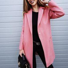 Sexy Autumn Winter Women Wool Coat Turn-down Collar Single Button Pockets Elegant Long Outwear