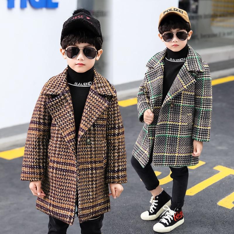 Garçons laine manteaux automne hiver teengers épais long outwear trench vêtements pour bébé garçons enfants mode vestes enfants 3 4 5 6 7Y